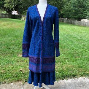 Vintage MISSONI blue knit cardigan skirt set 46 10